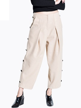 High Waist Pure Color Loose Fit Jean