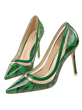 Pu Serpentine Slip On High Heel Womens Pumps