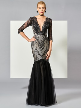 Deep V Neck Mermaid Lace Evening Dress