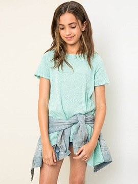 Asymmetric Pinstriped Girls T Shirt