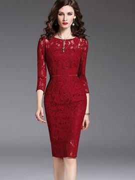 Red Long Sleeve Lace Bodycon Dress