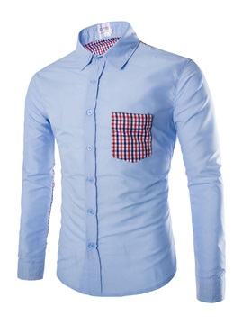 Plaid Leisure Patchwork Mens Casual Shirt