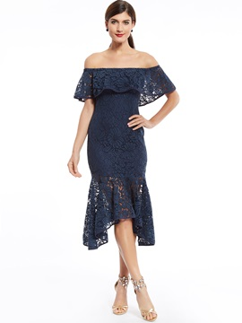 Off The Shoulder Lace Mermaid Cocktail Dress