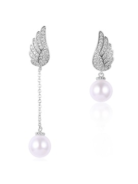 Asymmetric Angels Wings Design Pearl Earrings