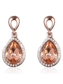 Water Drop Shaped Champagne Crystal Pendant Womens Earrings