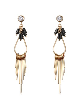 Golden Long Diamante Tassels Womens Earrings