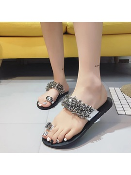Pu Slip On Rhinestone Ring Toe Womens Flat Sandals