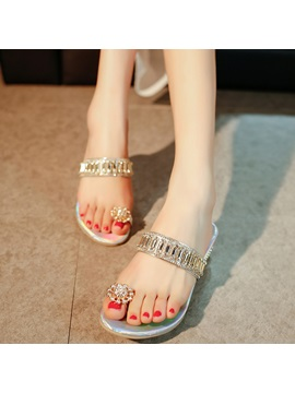 Pu Slip On Rhinestone Ring Toe Glitter Womens Flat Sandals