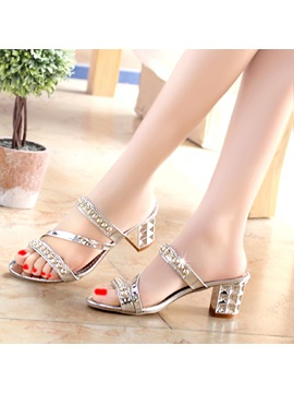 Pu Rhinestone Chunky Slip On Womens Luminous Sandals