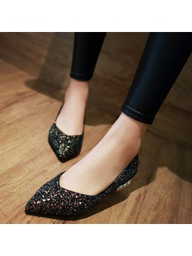 Sequins Rhinestone Slip On Pointed Toe Womens Flats