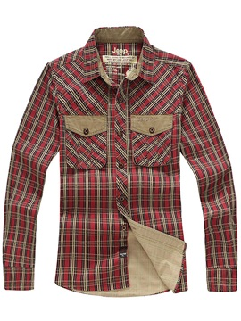 Patchwork Pockets Mens Long Sleeve Shirt
