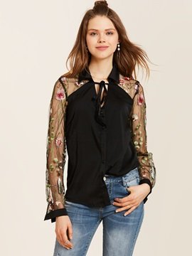 Chic Embroidery See Through Straight Blouse