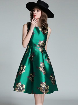 Sleeveless Floral Imprint Skater Dress