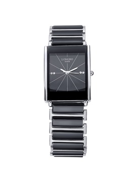 Unique Black Ceramic Band Rectangle Dial Mens Watch