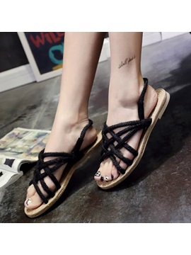 Summer Open Toe Slip On Strappy Womens Sandals