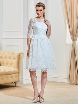 Half Sleeves Bateau Neck Bowknot Lace Knee Length Wedding Dress