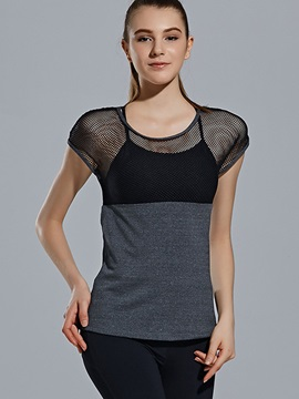 Mesh Trim See Through Ventilate Women Sports Yoga Top