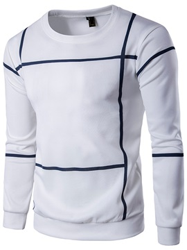 Plain Stripe Round Neck Mens Casual Hoodie