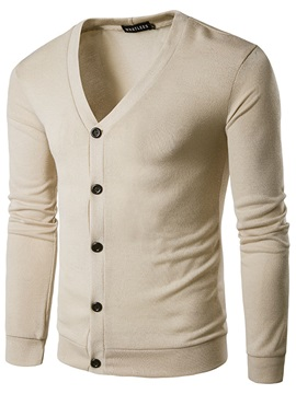 V Neck Single Breasted Plain Mens Sweater