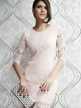 Light Pink Long Sleeve Lace Bodycon Dress