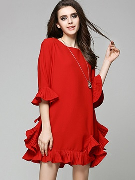 Chic Red Long Sleeve Short Day Dress