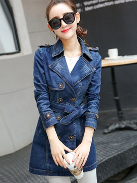 Chic Double Breasted Denim Jacket