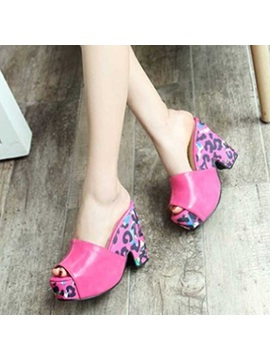 Pu Slip On Platform Colorful Womens Heel Sandals