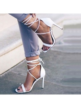 Pu Lace Up Stiletto Heel White Womens Sandals