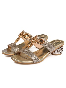 Sequin Rhinestone Slip On Womens Sandals