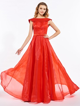 A Line Bowknot Sashes Floor Length Prom Dress