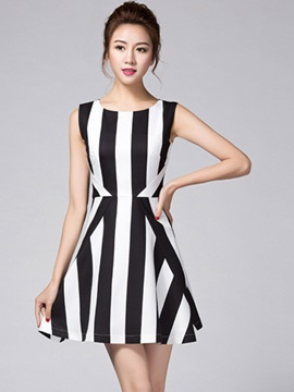 Stripe Sleeveless Skater Dress
