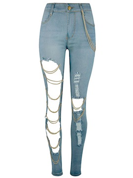 Skinny Denim Worn Hole Patchwork Chain Button Jeans