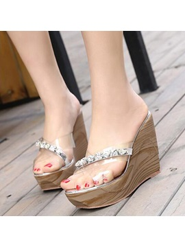 Pvc Slip On Rhinestone See Through Womens Wedge Shoes