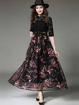 Chic Floral Imprint Long Sleeve Maxi Dress