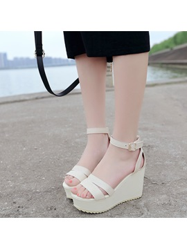 Pu Line Style Buckle Platform Womens Wedge Shoes