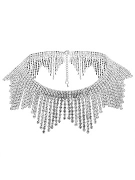 Sparkling Alloy Diamante Tassels Choker Necklaces