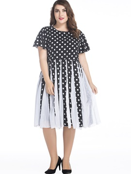 Polka Dots Short Sleeve Skater Dress