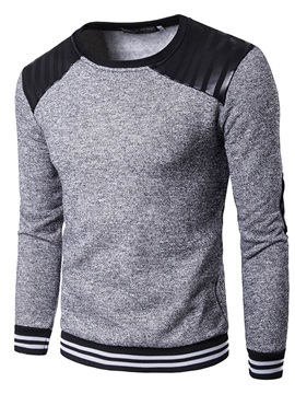 Patchwork Pu Round Neck Mens Casual Hoodie