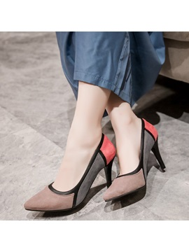 Pu Slip On Stiletto Heel Patchwork Womens Pumps