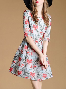 Chic Floral Imprint Half Sleeve Skater Dress