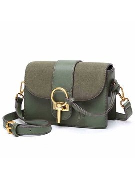 Retro Latch Nubuck Leather Messenger Crossbody Bag