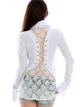 Floral Back Lace Plain Blouse