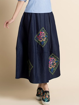 Plain Embroidery Pleated Expansion Skirt