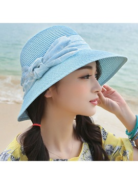 Artistic Bowknot Design Sunscreen Womens Straw Hat