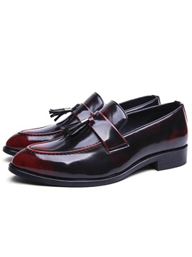Patent Leather Slip On Fringe Shoes For Men