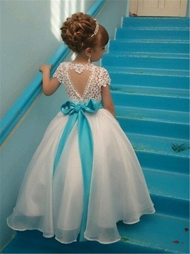 Short Sleeve Beading Sashes Lace Flower Girl Dress