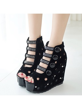 Pu Rhinestone Zipper Hollow Womens Wedge Sandals