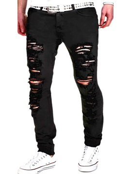 Worn Hole Slim Fit Mens Casual Jeans
