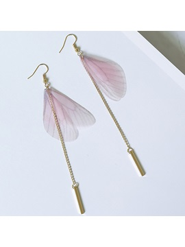 Sweet Pink Butterfly Wings Tassels Earrings