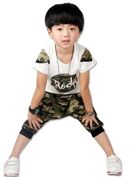 Stylish Color Block Camouflage Boys 2 Piece Outfit
